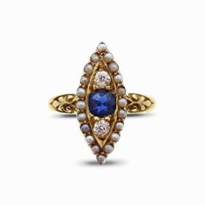 Edwardian Sapphire & Diamond Dress Ring